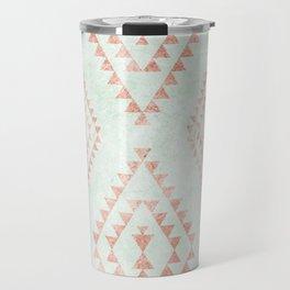 mint & coral tribal pattern Travel Mug
