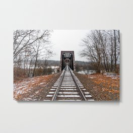 Snow Covered Train Trestle Metal Print