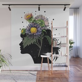 Flower pot head galaxy Wall Mural