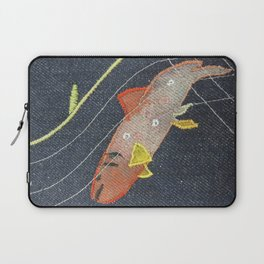 Brook Trout Five - Hand Painted Embroidered Textile by Jackie Wills  Laptop Sleeve