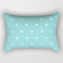 Baby Blue Heart Pattern Rectangular Pillow
