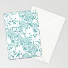 just goats teal Stationery Cards