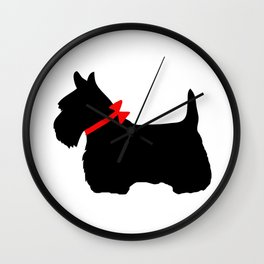 Scottie Dog with Red Bow Wall Clock