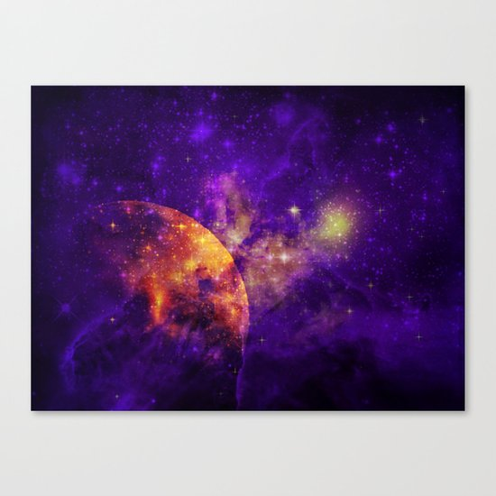 Planet, Nebula and Stars Canvas Print