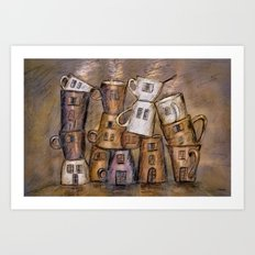 Coffeehouse - draw Art Print