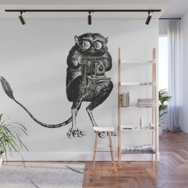 Say Cheese! | Tarsier with Vintage Camera | Black and White Wall Mural