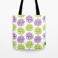 Fun Flowers purple green Tote Bag