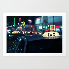 Taxi Night Hollywood Lightstorm Art Print