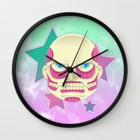 attack on titan Wall Clocks featuring Pastel no Kyoujin Colossal Titan by KawaiiMachine
