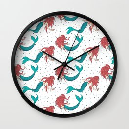 Red Haired Mermaids Pattern Wall Clock