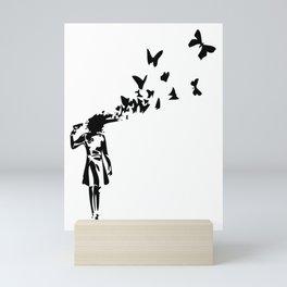 Banksy - Girl Shooting Her Head With Butterfly Design, Streetart Street Art, Grafitti, Artwork, Desi Mini Art Print