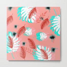 Coral and Teal Tropical Leaves Metal Print