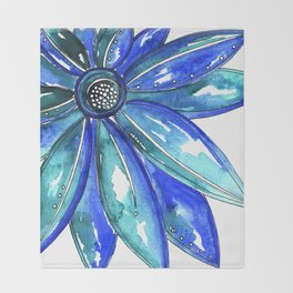 Blue Watercolor flower Throw Blanket