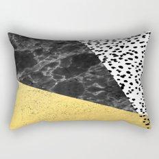 Mele - gold abstract painting art decor dorm college trendy hipster foil glitter black and white dot Rectangular Pillow