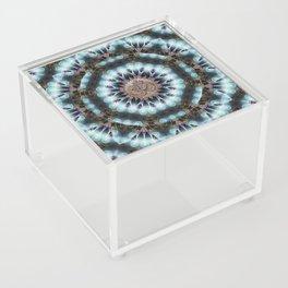 Om Shanti Fractal Geometry [ earthy aqua remix ] Acrylic Box