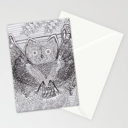 Adult Coloringbook Template Owl Stationery Cards