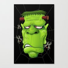 Frankenstein Ugly Portrait and Spiders Canvas Print