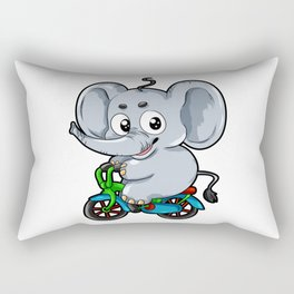 Cute Elephant on a Bicycle Bike Cartoon Comic Gift Rectangular Pillow