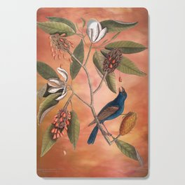 Blue Grosbeak with Sweetbay Magnolia, Vintage Natural History and Botanical Cutting Board
