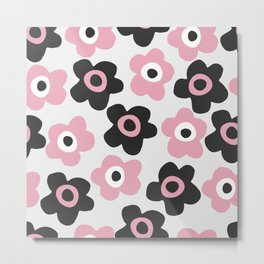 Black and pink flowers Metal Print