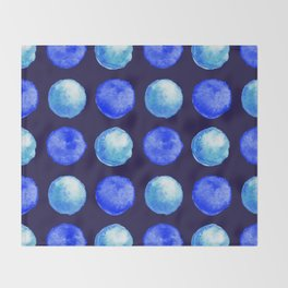 Winter Blue Watercolor Large Dots Pattern Throw Blanket