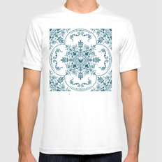 Decorative Pattern in Creme and Blue Mens Fitted Tee MEDIUM White