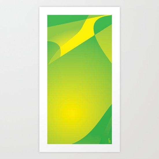 Green Tonal Collision Art Print