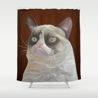 grumpy Shower Curtains featuring Grumpy-Chocolate by beart24