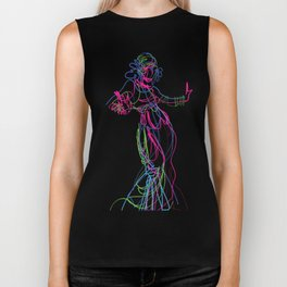 Tribal fusion dance color power. Abstract. Neon glowing  gesture sketch Biker Tank