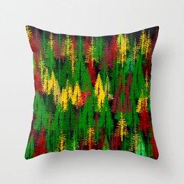 autumn fir forest Throw Pillow