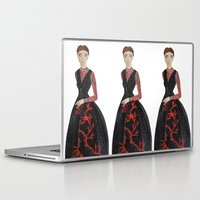 valentina Laptop & iPad Skins featuring Fashion Illustration Valentina coral couture dress by Cinnamoncafexx