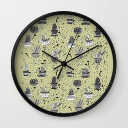 Cactus White And Black Wall Clock