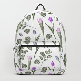 Elegant lilac blush pink blue watercolor tulips pattern Backpack
