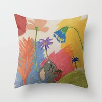 mouse Throw Pillows featuring Mouse by SketchMaster