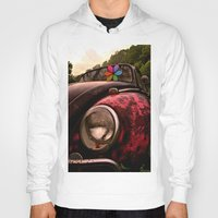volkswagen Hoodies featuring Black & Pink Volkswagen Beetle by Kevin Westerman