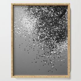 Sparkling Silver Gray Lady Glitter #1 #shiny #decor #art #society6 Serving Tray