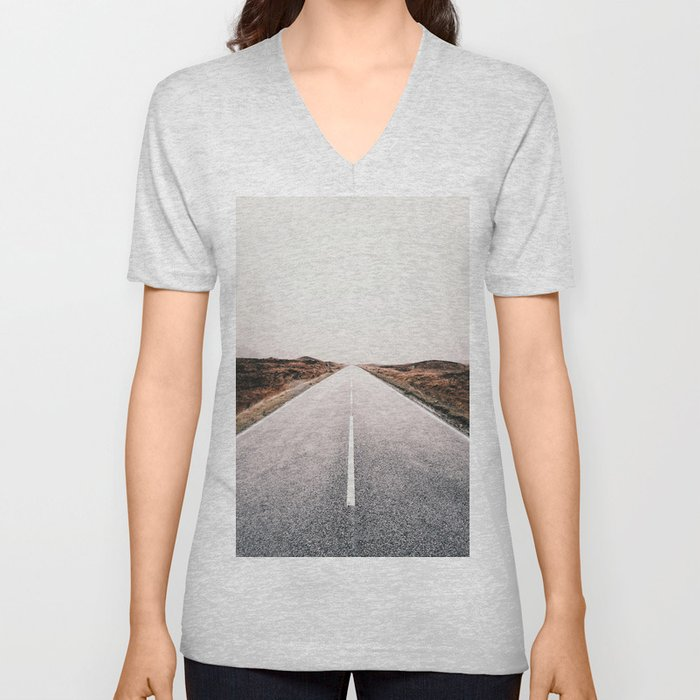 ROAD - HIGH WAY - LANDSCAPE - PHOTOGRAPHY - NATURE - ADVENTURE - SKY Unisex V-Neck