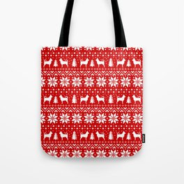 Chihuahua Silhouettes Christmas Sweater Pattern Tote Bag