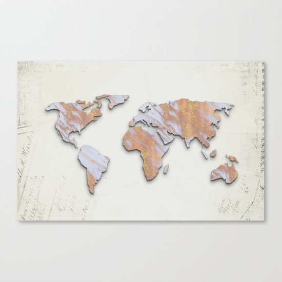 Rose Gold Marble Map - RoseGold World II Canvas Print