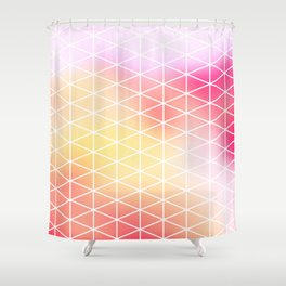 pink triangles grid Shower Curtain