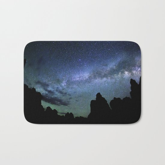 Milky Way Mountains Silhouette Bath Mat