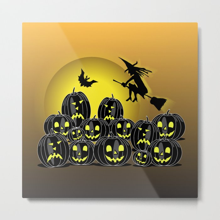 Pumpkins and witch in front of a full moon Metal Print