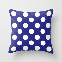Geometric Candy Dot Circles - White on Navy Blue Throw Pillow