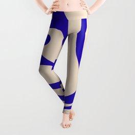 Modern Liquid Swirl Abstract Pattern Square in Cobalt Blue Leggings