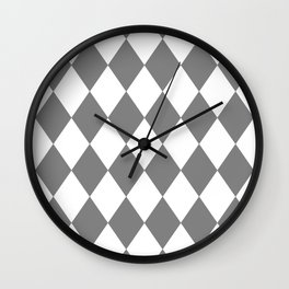 Diamonds (Gray/White) Wall Clock