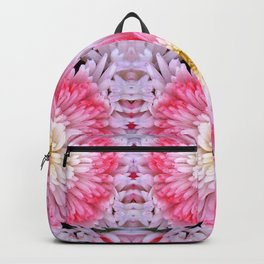 Rose Pink White Flower Blossoms Dahlias Backpack