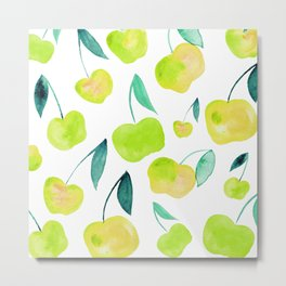 Watercolor cherries - yellow and green Metal Print