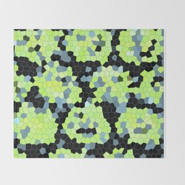 Cell Print Home Decor Graphic Design Pastel Colors Green Grey Blue Black Mint Lime Kiwi Throw Blanket