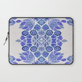 Delft blue Bohemian floral watercolor pattern in classic blue and cream Laptop Sleeve