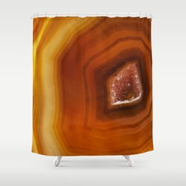 Orange Burnt Red Geode Raw Stone Crystal Agate Boho Hippie Fine Art  Print Shower Curtain
